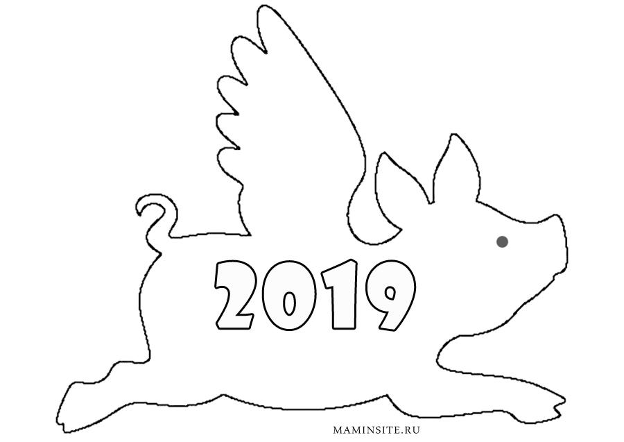 Новогодний шаблон на окна год Свиньи 2019