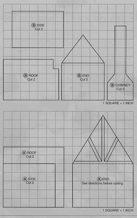Шаблон пряничного домика №1