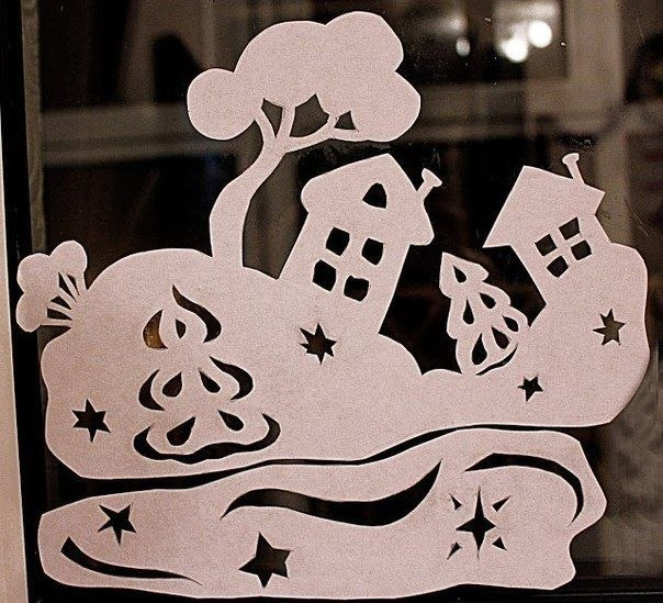 Шаблон украшения на окна из бумаги своими руками шаблоны 33