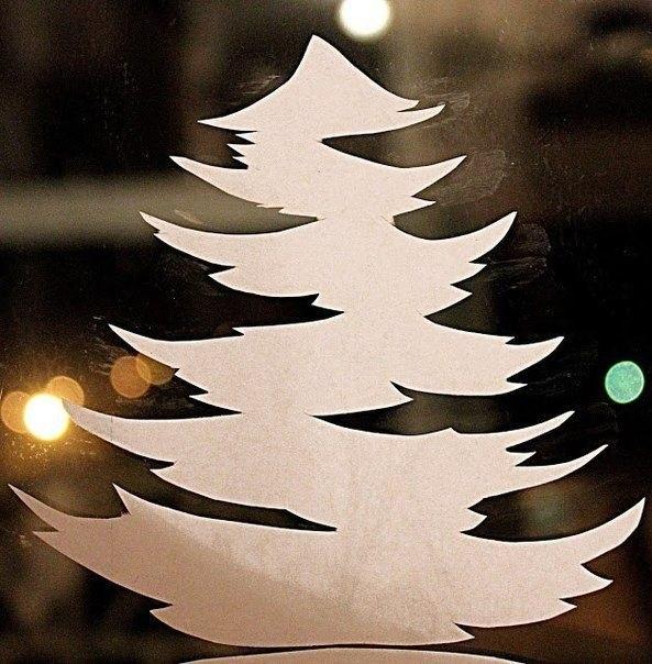 Трафареты украшений окон к новому году скачать бесплатно